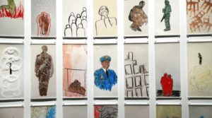"NEW YORK, NY - SEPTEMBER 01: Some of the paintings by artist Manju Shandler are on view at a preview of the new exhibition at the 9/11 Memorial Museum titled ""Rendering the Unthinkable: Artists Respond to 9/11"" on September 1, 2016 in New York City. The exhibition at the museum on the site of the former World Trade Center towers features thirteen artworks that were created in response to 9/11, including paintings, sculptures, video and other media. The show will open September 12 and run until January. Spencer Platt/Getty Images/AFP"